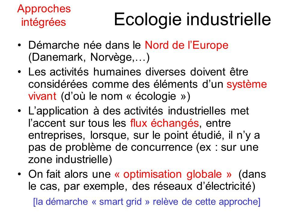 Ecologie industrielle Démarche née dans le Nord de lEurope (Danemark, Norvège,…) Les activités humaines diverses doivent être considérées comme des éléments dun système vivant (doù le nom « écologie ») Lapplication à des activités industrielles met laccent sur tous les flux échangés, entre entreprises, lorsque, sur le point étudié, il ny a pas de problème de concurrence (ex : sur une zone industrielle) On fait alors une « optimisation globale » (dans le cas, par exemple, des réseaux délectricité) [la démarche « smart grid » relève de cette approche] Approches intégrées