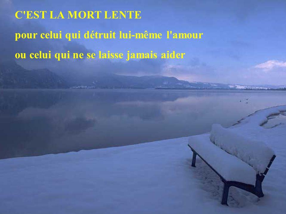 C'est la MORT LENTE pour celui qui ne voyage pas, pour celui qui ne lit pas, ou qui ne sait pas écouter la musique ou rire de lui-même...
