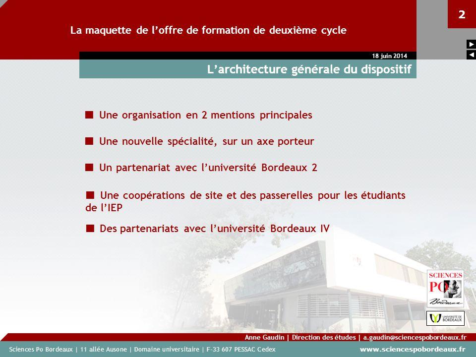 Sciences Po Bordeaux | 11 allée Ausone | Domaine universitaire | F-33 607 PESSAC Cedex www.sciencespobordeaux.fr 2 La maquette de loffre de formation