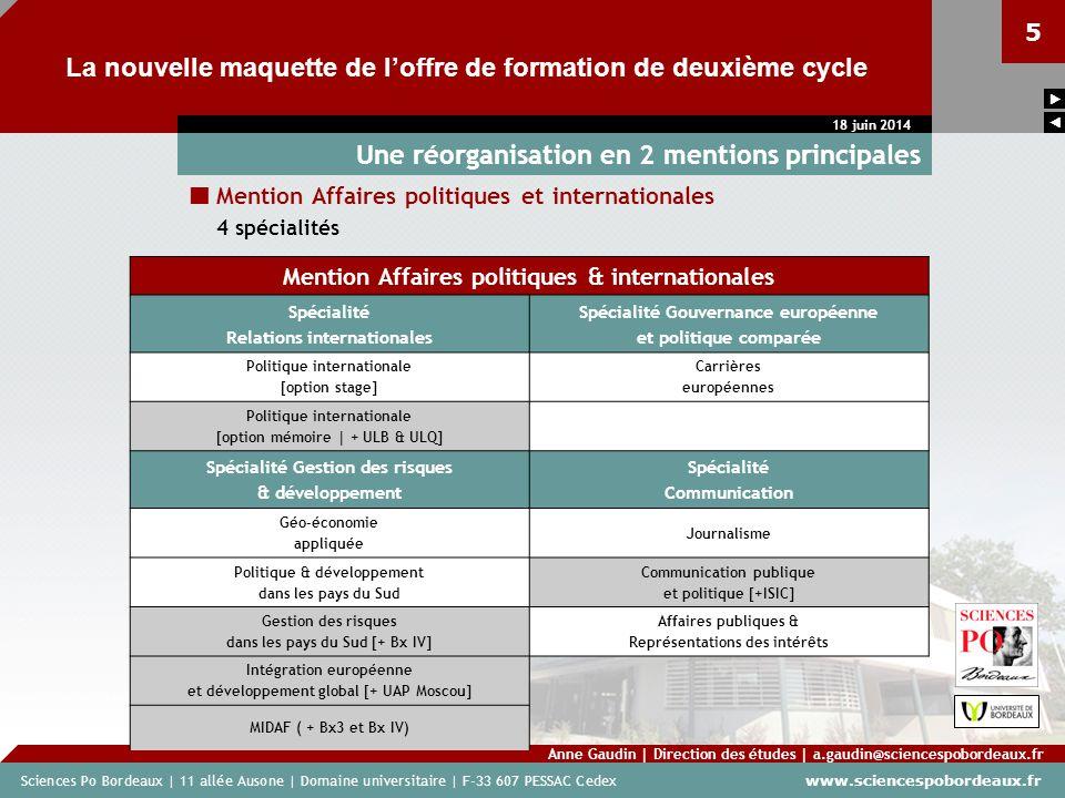 Sciences Po Bordeaux | 11 allée Ausone | Domaine universitaire | F-33 607 PESSAC Cedex www.sciencespobordeaux.fr 5 La nouvelle maquette de loffre de f