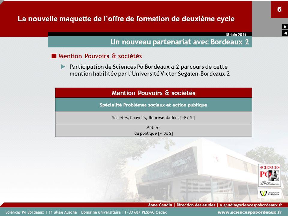 Sciences Po Bordeaux | 11 allée Ausone | Domaine universitaire | F-33 607 PESSAC Cedex www.sciencespobordeaux.fr 6 La nouvelle maquette de loffre de f