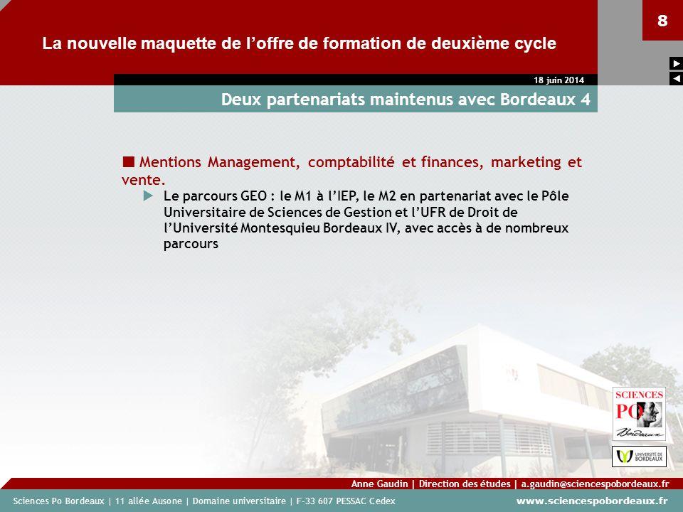 Sciences Po Bordeaux | 11 allée Ausone | Domaine universitaire | F-33 607 PESSAC Cedex www.sciencespobordeaux.fr 8 La nouvelle maquette de loffre de f