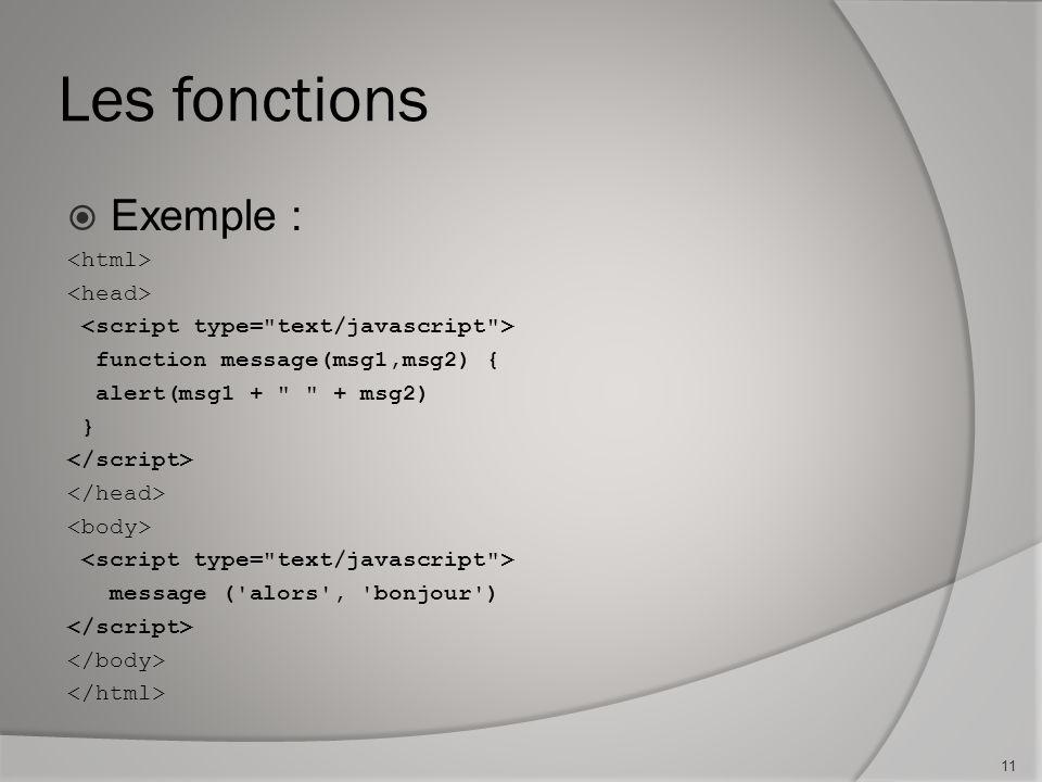 Les fonctions Exemple : function message(msg1,msg2) { alert(msg1 + + msg2) } message ( alors , bonjour ) 11