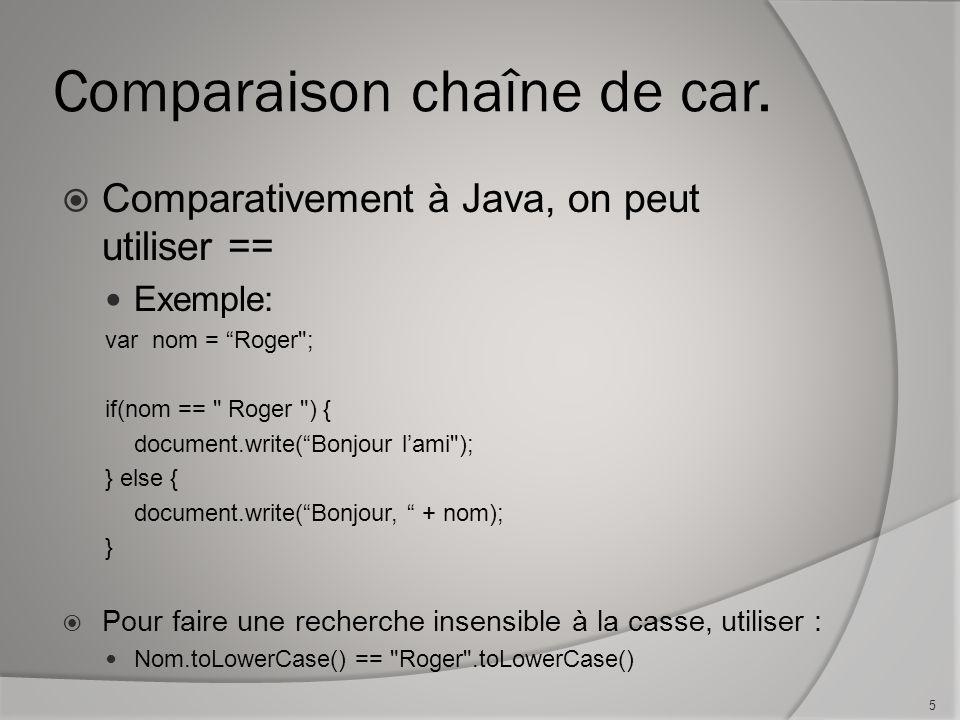 Comparaison chaîne de car.