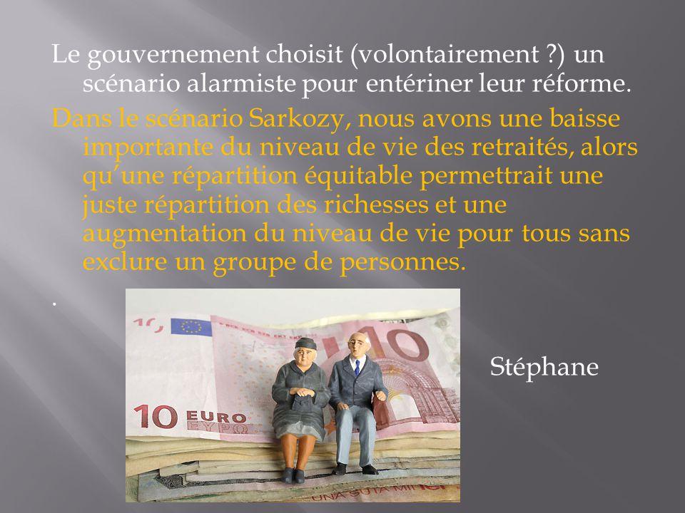 Le gouvernement choisit (volontairement ?) un scénario alarmiste pour entériner leur réforme. Dans le scénario Sarkozy, nous avons une baisse importan