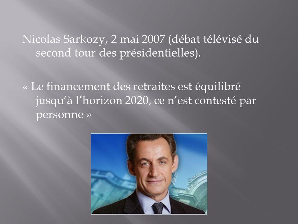 Nicolas Sarkozy, 2 mai 2007 (débat télévisé du second tour des présidentielles). « Le financement des retraites est équilibré jusquà lhorizon 2020, ce