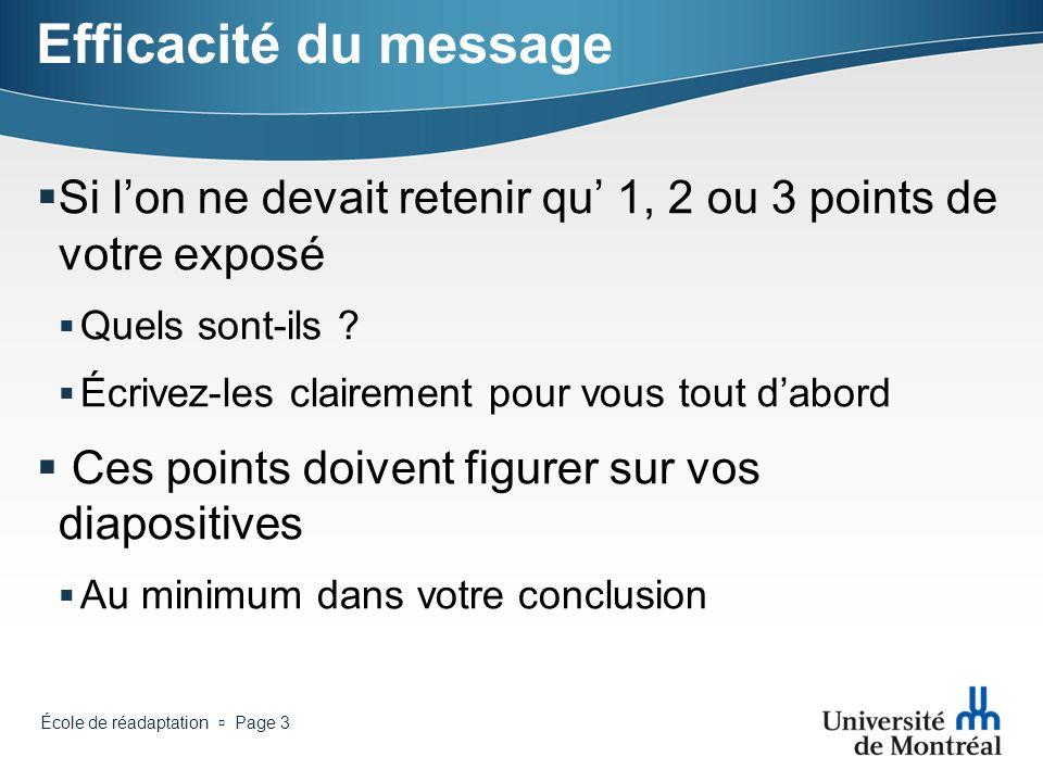 École de réadaptation Page 2 Plan de la séance Efficacité du message Thème Points à retenir Procédures et techniques Police Fonds images Conclusion Ef