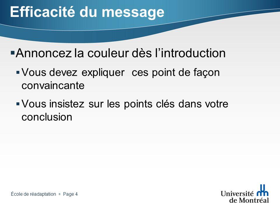 École de réadaptation Page 3 Efficacité du message Si lon ne devait retenir qu 1, 2 ou 3 points de votre exposé Quels sont-ils ? Écrivez-les clairemen