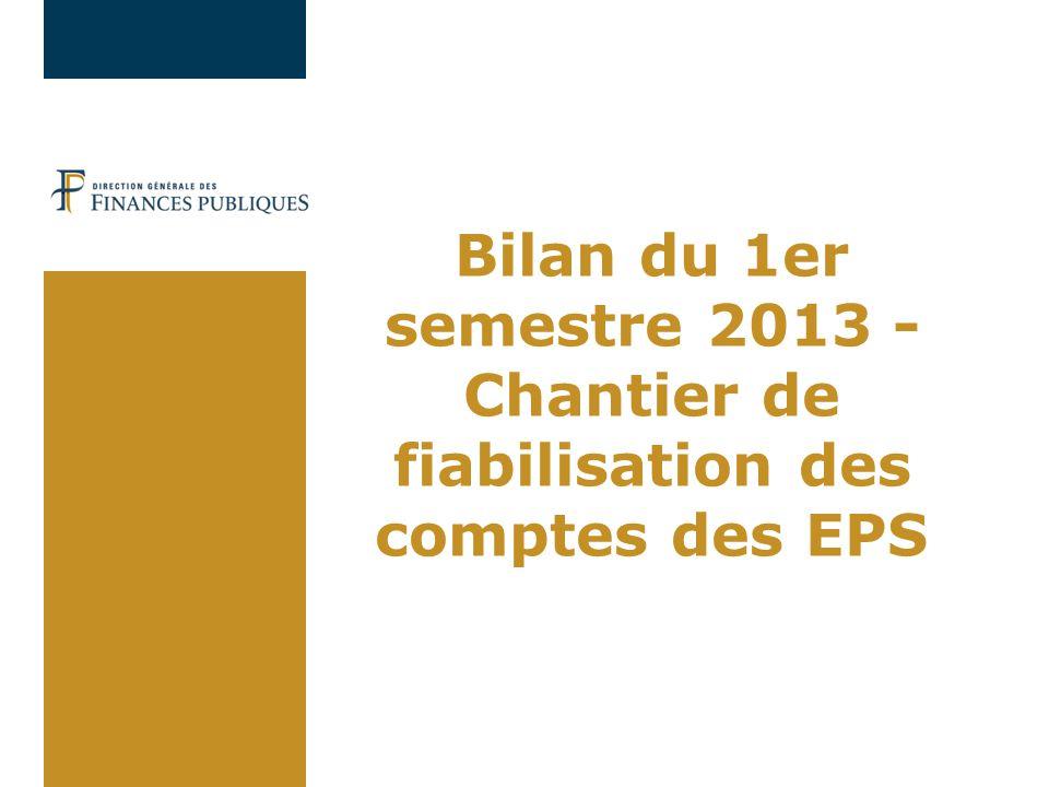 Bilan du 1er semestre 2013 - Chantier de fiabilisation des comptes des EPS