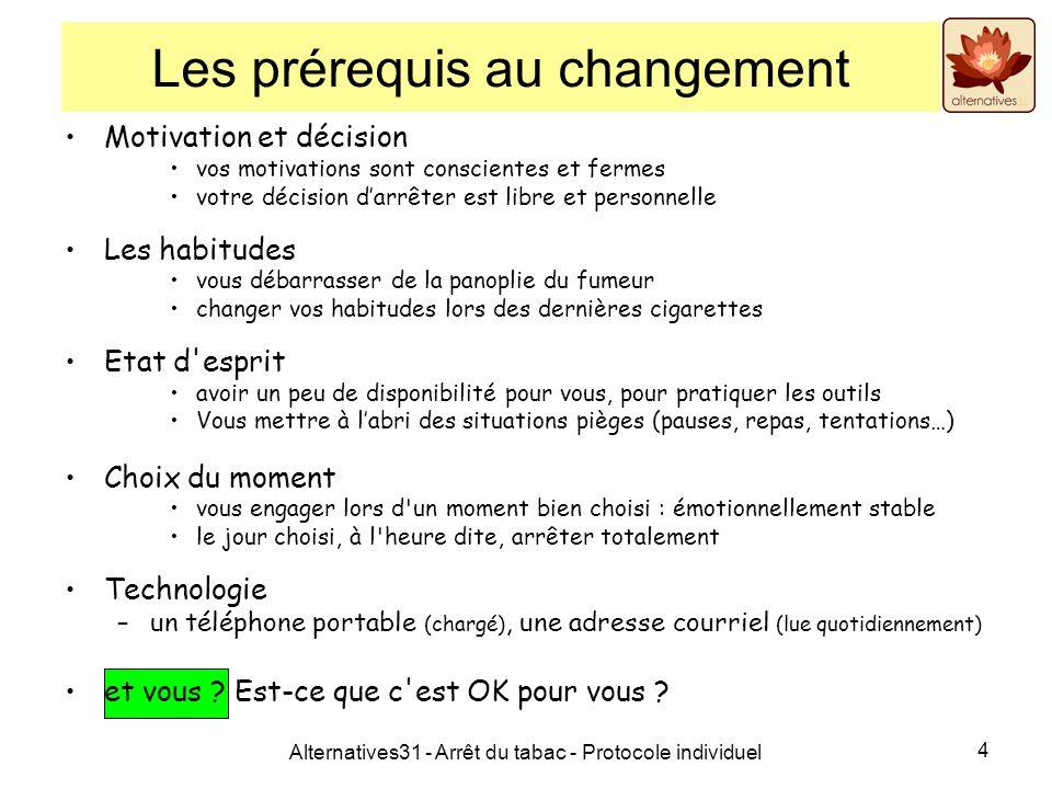 Alternatives31 - Arrêt du tabac - Protocole individuel 4 Les prérequis au changement Motivation et décision vos motivations sont conscientes et fermes