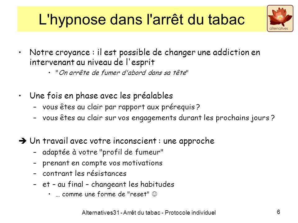 Alternatives31 - Arrêt du tabac - Protocole individuel 6 L'hypnose dans l'arrêt du tabac Notre croyance : il est possible de changer une addiction en