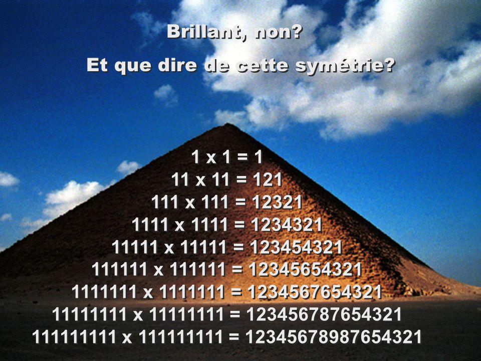 1 x 1 = 1 11 x 11 = 121 111 x 111 = 12321 1111 x 1111 = 1234321 11111 x 11111 = 123454321 111111 x 111111 = 12345654321 1111111 x 1111111 = 1234567654321 11111111 x 11111111 = 123456787654321 111111111 x 111111111 = 12345678987654321 Brillant, non.