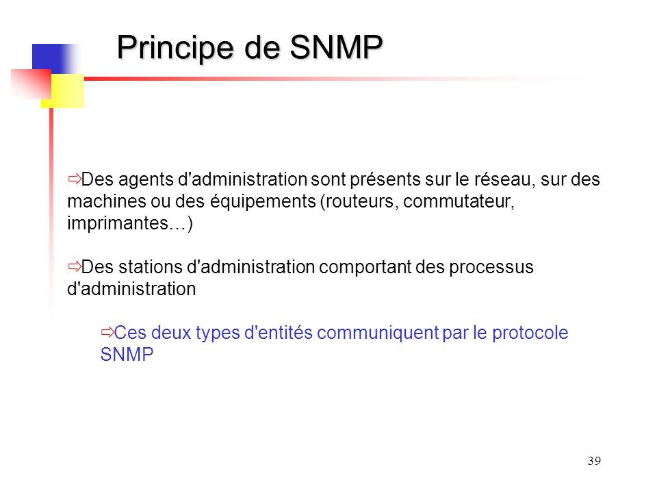 39 Principe de SNMP Des agents d administration sont présents sur le réseau, sur des machines ou des équipements (routeurs, commutateur, imprimantes…) Des stations d administration comportant des processus d administration Ces deux types d entités communiquent par le protocole SNMP