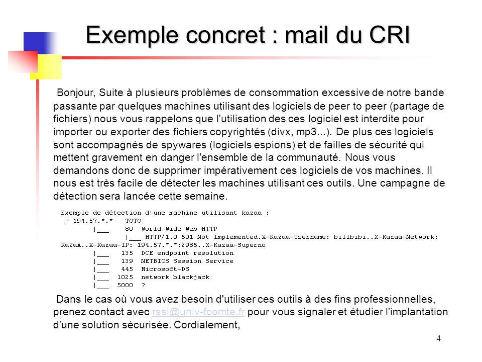 4 Exemple concret : mail du CRI Bonjour, Suite à plusieurs problèmes de consommation excessive de notre bande passante par quelques machines utilisant