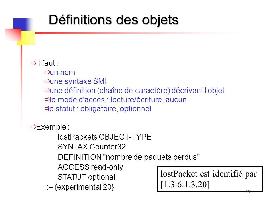 49 Définitions des objets Il faut : un nom une syntaxe SMI une définition (chaîne de caractère) décrivant l objet le mode d accès : lecture/écriture, aucun le statut : obligatoire, optionnel Exemple : lostPackets OBJECT-TYPE SYNTAX Counter32 DEFINITION nombre de paquets perdus ACCESS read-only STATUT optional ::= {experimental 20} lostPacket est identifié par [1.3.6.1.3.20]