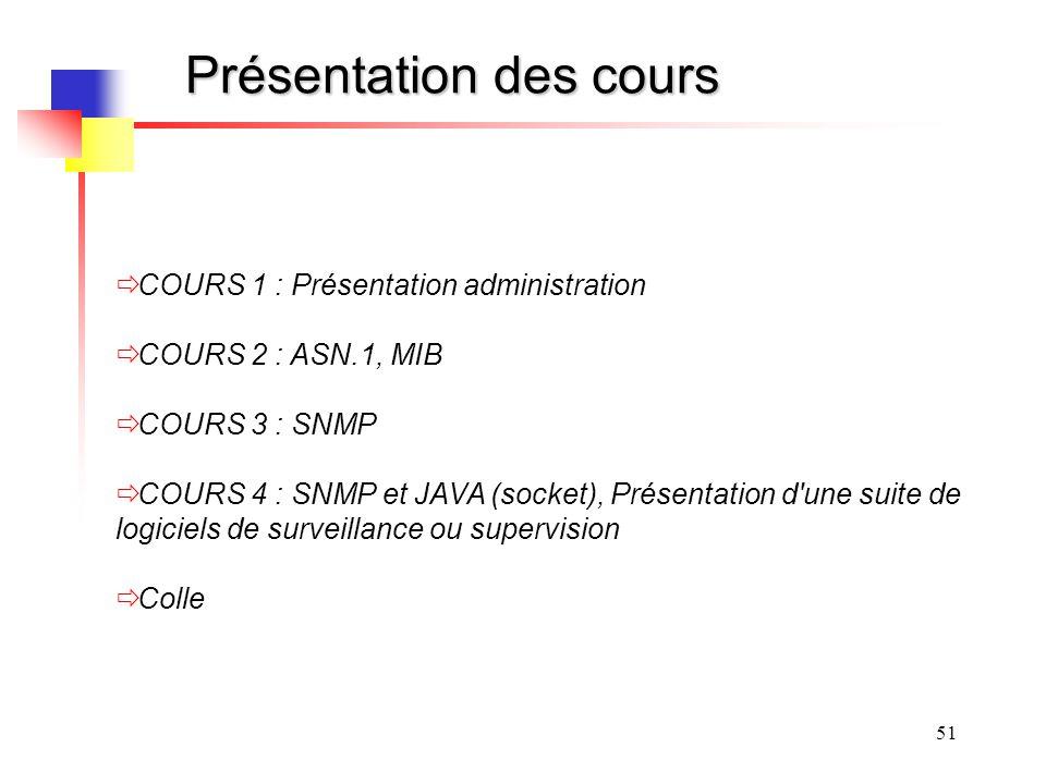 51 Présentation des cours COURS 1 : Présentation administration COURS 2 : ASN.1, MIB COURS 3 : SNMP COURS 4 : SNMP et JAVA (socket), Présentation d'un