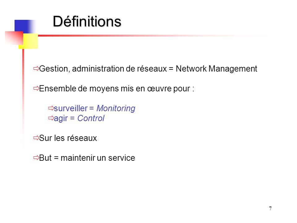 7 Définitions Gestion, administration de réseaux = Network Management Ensemble de moyens mis en œuvre pour : surveiller = Monitoring agir = Control Su