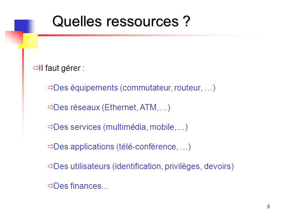 8 Quelles ressources ? Il faut gérer : Des équipements (commutateur, routeur, …) Des réseaux (Ethernet, ATM,…) Des services (multimédia, mobile,…) Des
