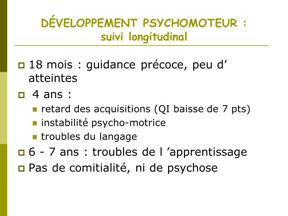 DÉVELOPPEMENT PSYCHOMOTEUR : suivi longitudinal 18 mois : guidance précoce, peu d atteintes 4 ans : retard des acquisitions (QI baisse de 7 pts) insta