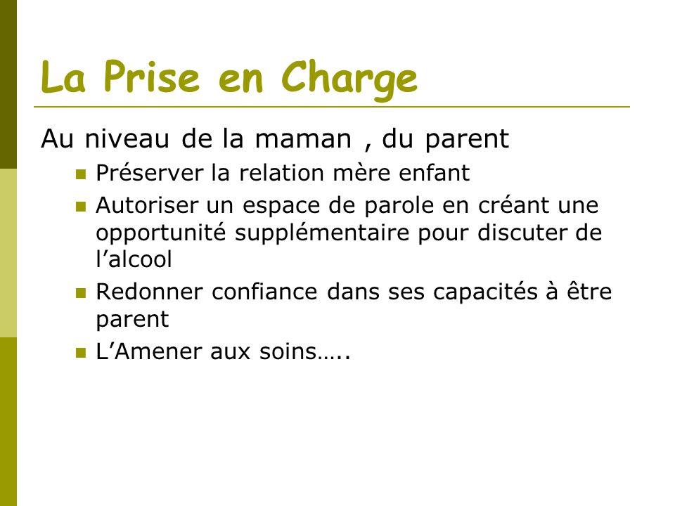 La Prise en Charge Au niveau de la maman, du parent Préserver la relation mère enfant Autoriser un espace de parole en créant une opportunité suppléme