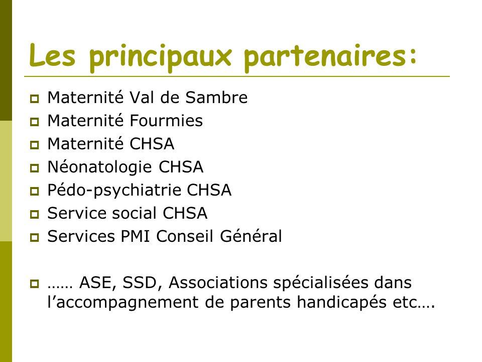 Les principaux partenaires: Maternité Val de Sambre Maternité Fourmies Maternité CHSA Néonatologie CHSA Pédo-psychiatrie CHSA Service social CHSA Serv