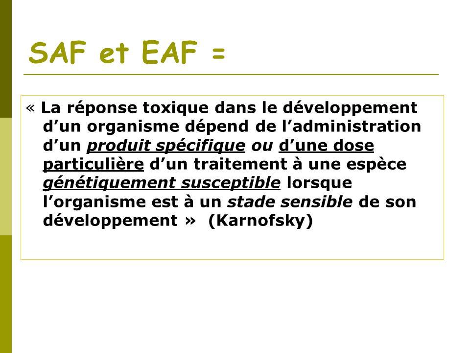 SAF et EAF = « La réponse toxique dans le développement dun organisme dépend de ladministration dun produit spécifique ou dune dose particulière dun t