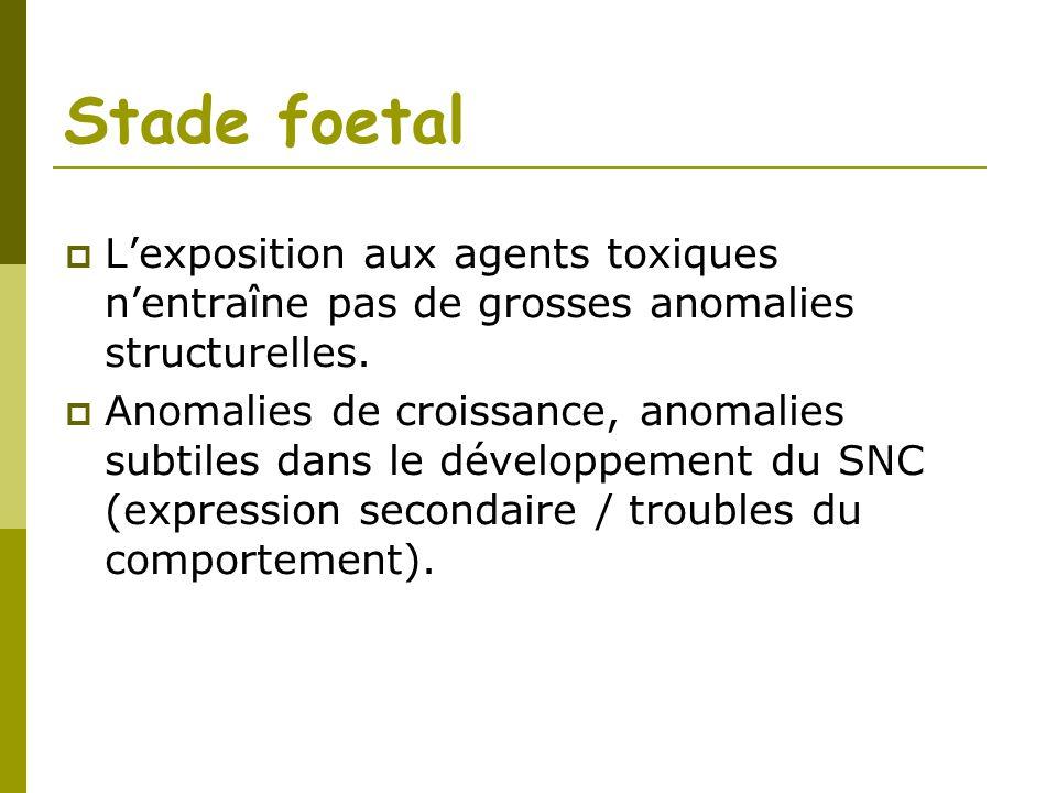 Stade foetal Lexposition aux agents toxiques nentraîne pas de grosses anomalies structurelles. Anomalies de croissance, anomalies subtiles dans le dév