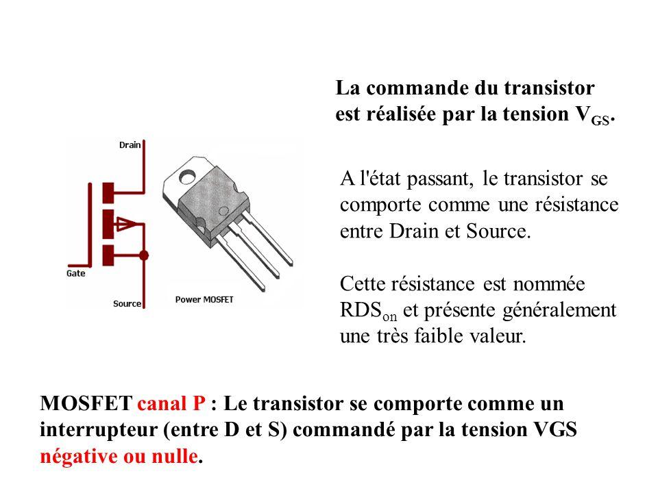 La commande du transistor est réalisée par la tension V GS. A l'état passant, le transistor se comporte comme une résistance entre Drain et Source. Ce