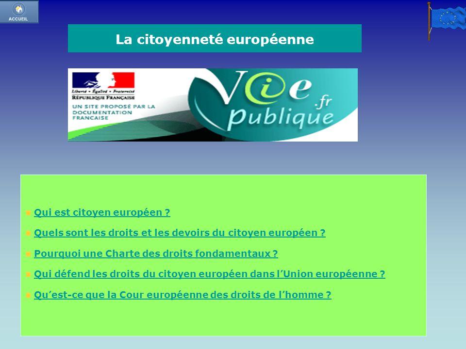 La citoyenneté européenne Qui est citoyen européen ? Quels sont les droits et les devoirs du citoyen européen ? Pourquoi une Charte des droits fondame