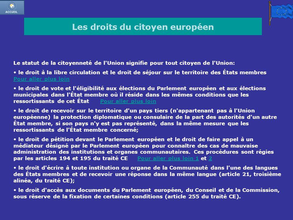 Les droits du citoyen européen Le statut de la citoyenneté de l'Union signifie pour tout citoyen de l'Union: le droit à la libre circulation et le dro