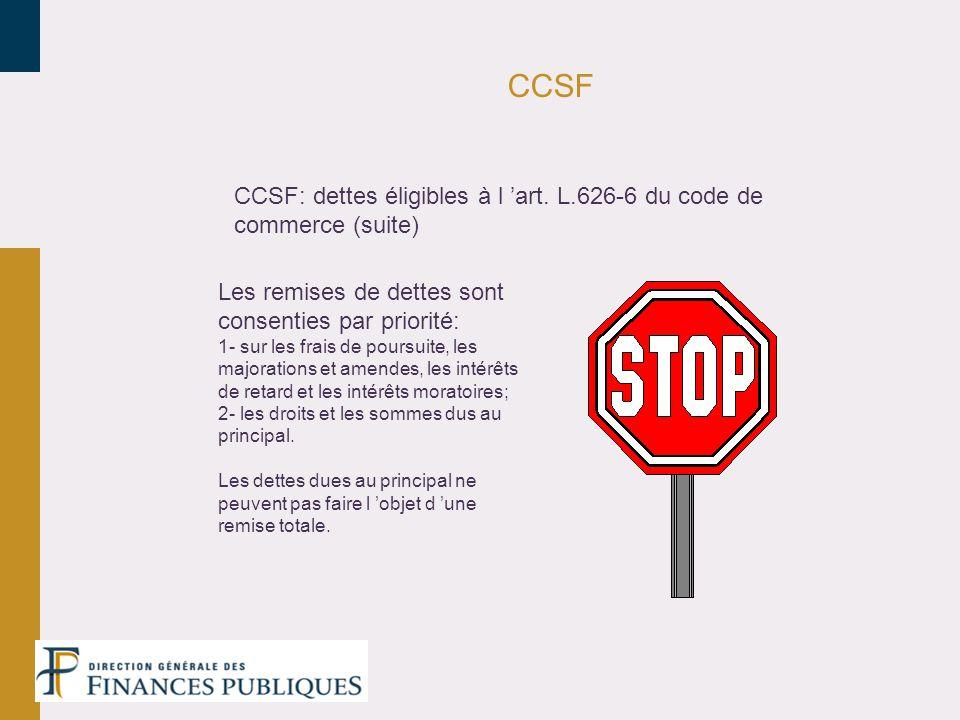 CCSF CCSF: dettes éligibles à l art. L.626-6 du code de commerce (suite) Les remises de dettes sont consenties par priorité: 1- sur les frais de pours