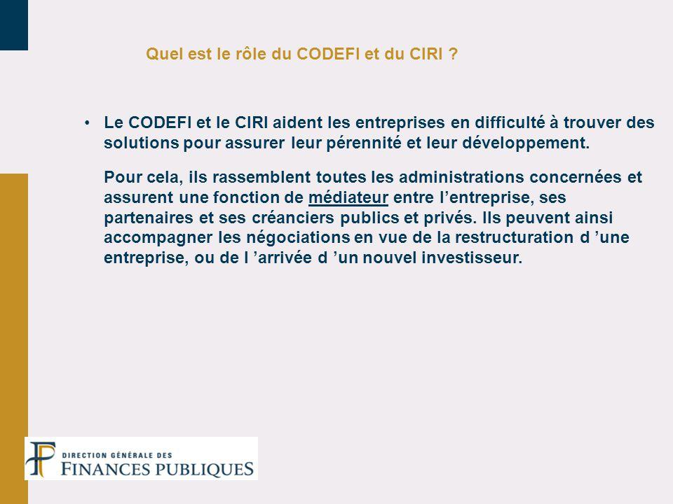 Quel est le rôle du CODEFI et du CIRI ? Le CODEFI et le CIRI aident les entreprises en difficulté à trouver des solutions pour assurer leur pérennité