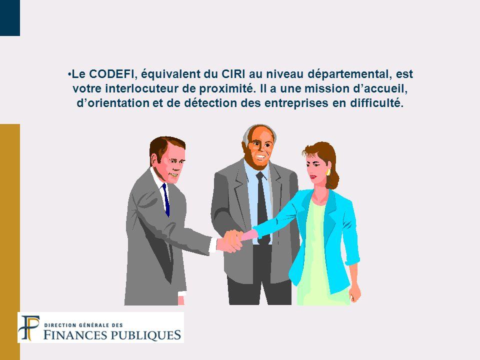 Le CODEFI, équivalent du CIRI au niveau départemental, est votre interlocuteur de proximité. Il a une mission daccueil, dorientation et de détection d