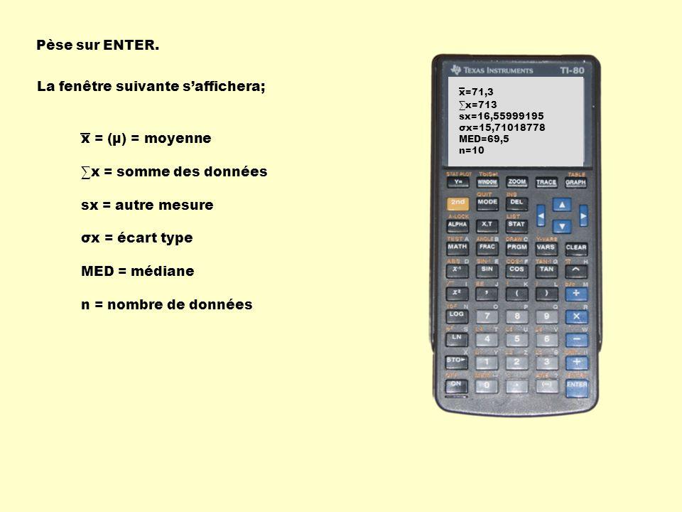 Pèse sur ENTER. La fenêtre suivante saffichera; 1-Var stats L1 x=71,3 x=713 sx=16,55999195 σx=15,71018778 MED=69,5 n=10 x = (µ) = moyenne x = somme de