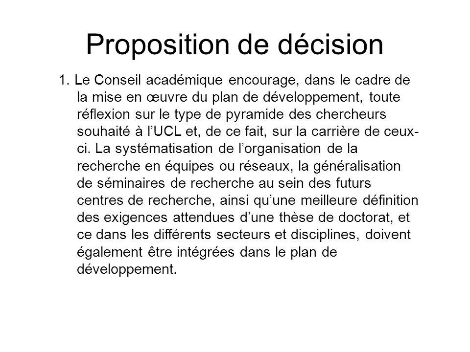 1. Le Conseil académique encourage, dans le cadre de la mise en œuvre du plan de développement, toute réflexion sur le type de pyramide des chercheurs