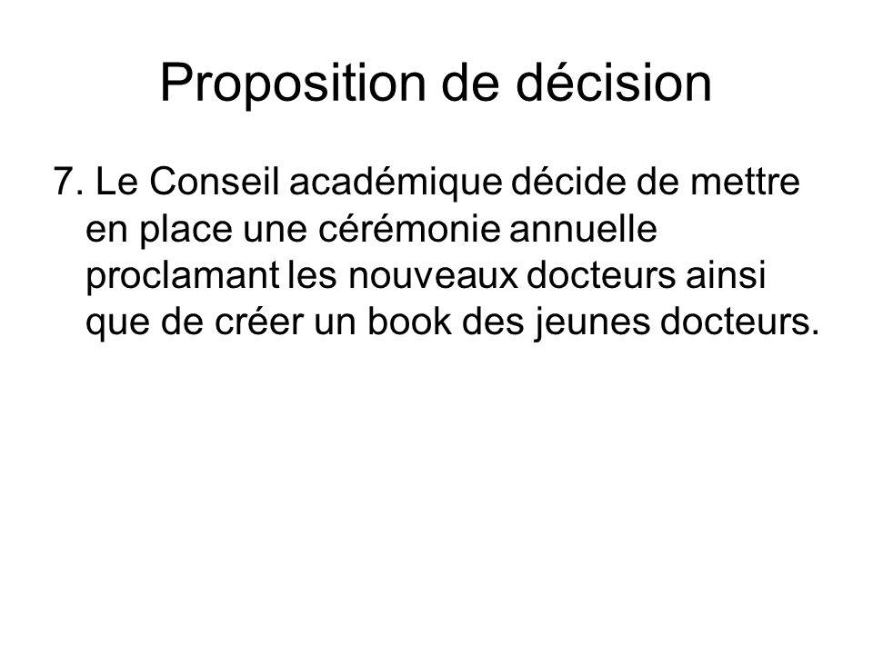 Proposition de décision 7.