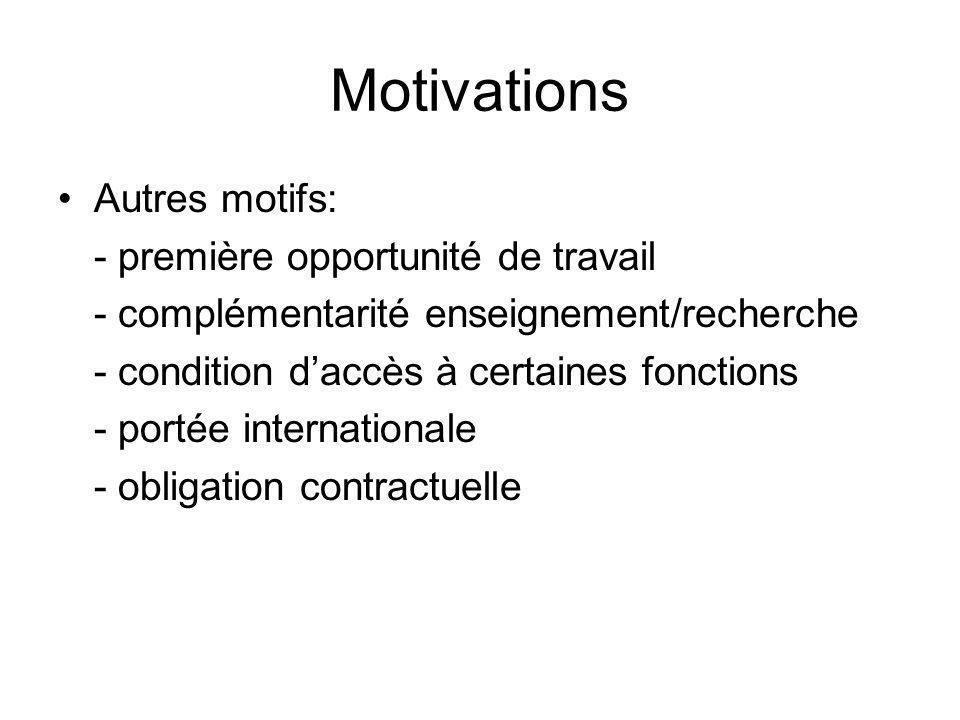Motivations Autres motifs: - première opportunité de travail - complémentarité enseignement/recherche - condition daccès à certaines fonctions - portée internationale - obligation contractuelle