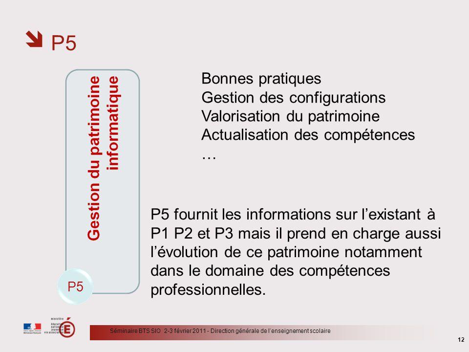 P5 12 Séminaire BTS SIO 2-3 février 2011 - Direction générale de lenseignement scolaire P5 Bonnes pratiques Gestion des configurations Valorisation du