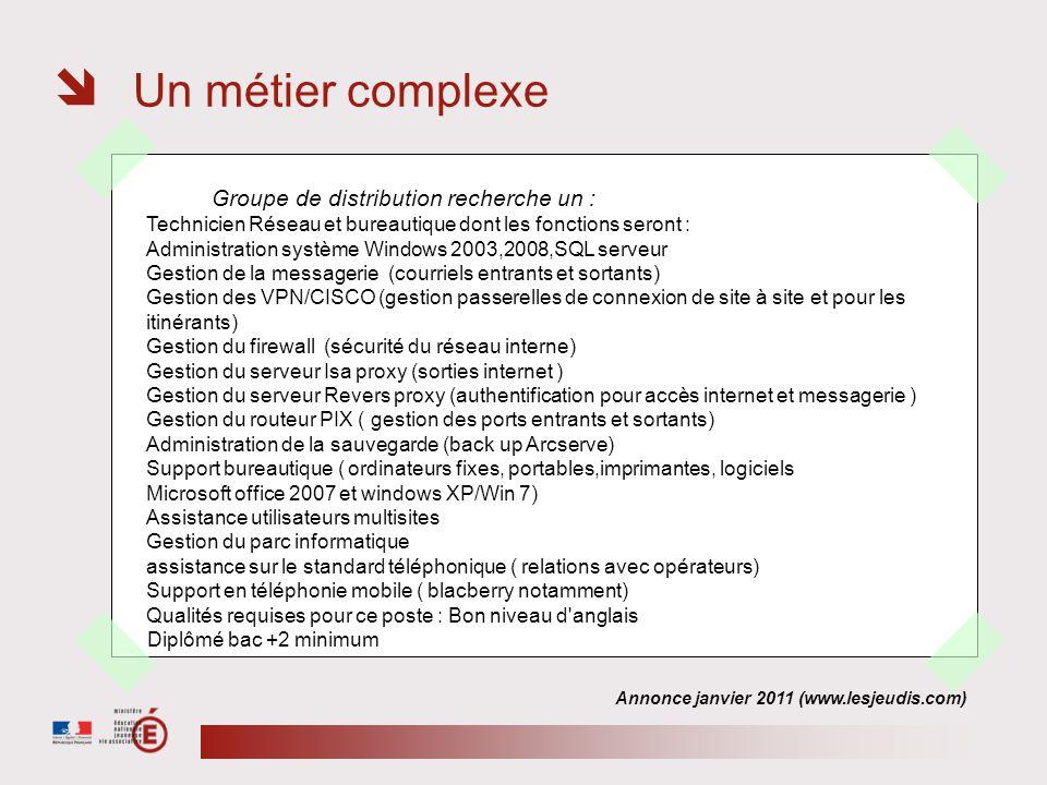 Un métier complexe Annonce janvier 2011 (www.lesjeudis.com) Groupe de distribution recherche un : Technicien Réseau et bureautique dont les fonctions