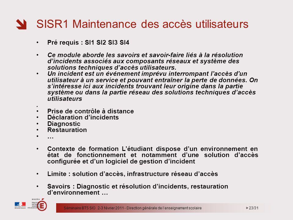 > 23/31 Pré requis : SI1 SI2 SI3 SI4 Ce module aborde les savoirs et savoir-faire liés à la résolution dincidents associés aux composants réseaux et s