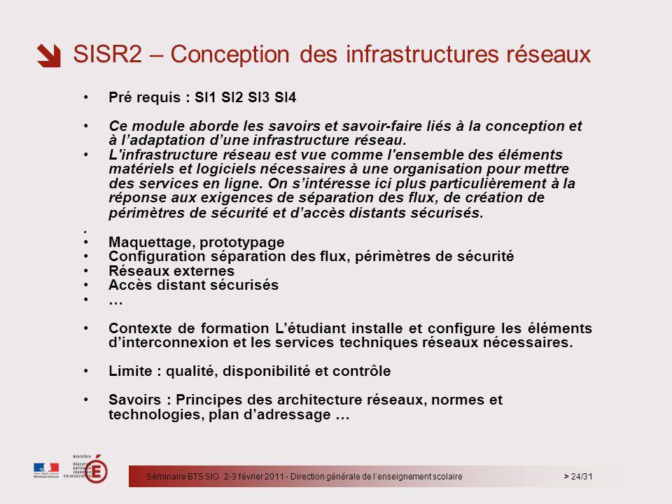 > 24/31 Pré requis : SI1 SI2 SI3 SI4 Ce module aborde les savoirs et savoir-faire liés à la conception et à ladaptation dune infrastructure réseau. L'