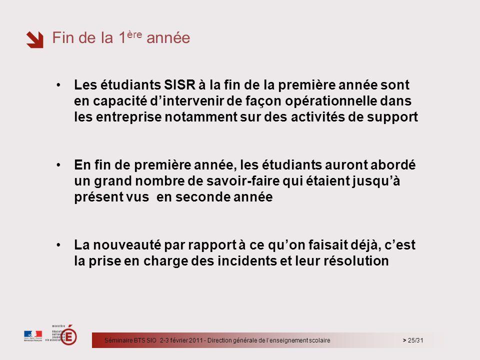 > 25/31 Les étudiants SISR à la fin de la première année sont en capacité dintervenir de façon opérationnelle dans les entreprise notamment sur des ac