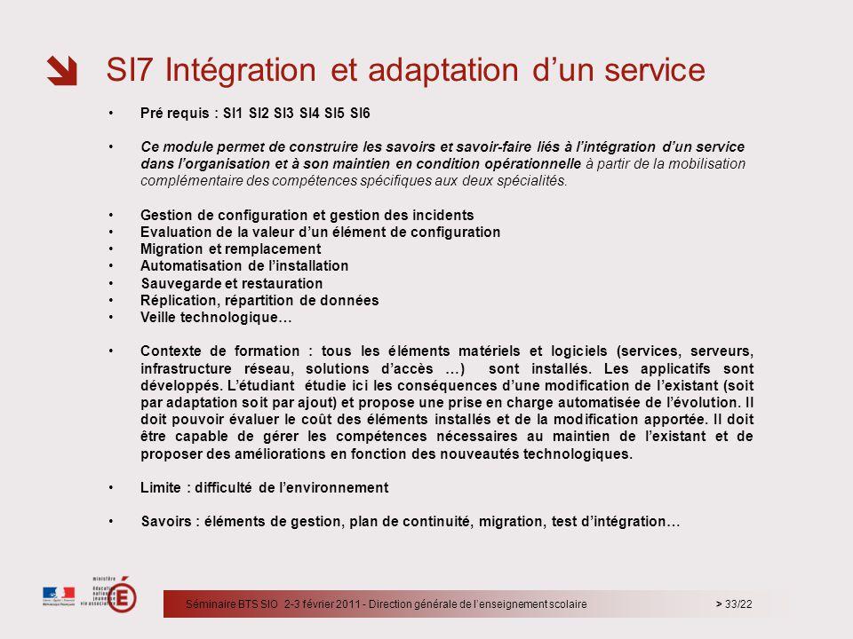 > 33/22 Pré requis : SI1 SI2 SI3 SI4 SI5 SI6 Ce module permet de construire les savoirs et savoir-faire liés à lintégration dun service dans lorganisa
