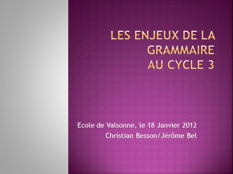 Ecole de Valsonne, le 18 Janvier 2012 Christian Besson/Jérôme Bel