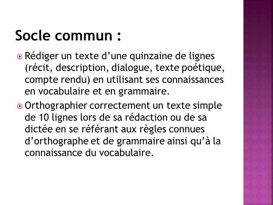 Rédiger un texte dune quinzaine de lignes (récit, description, dialogue, texte poétique, compte rendu) en utilisant ses connaissances en vocabulaire e