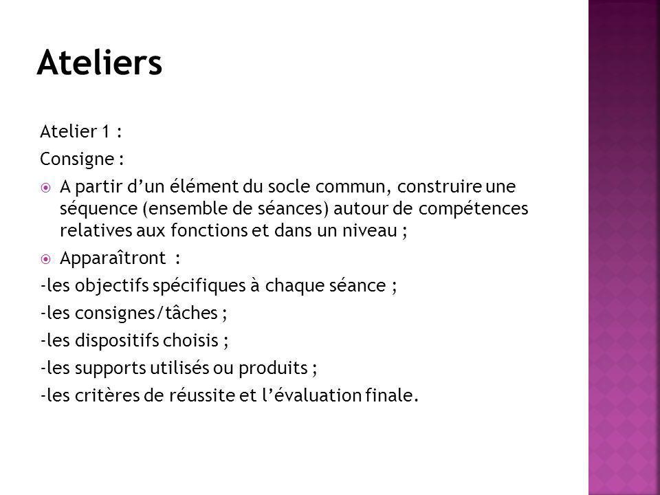 Atelier 1 : Consigne : A partir dun élément du socle commun, construire une séquence (ensemble de séances) autour de compétences relatives aux fonctio