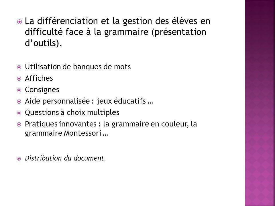 La différenciation et la gestion des élèves en difficulté face à la grammaire (présentation doutils). Utilisation de banques de mots Affiches Consigne