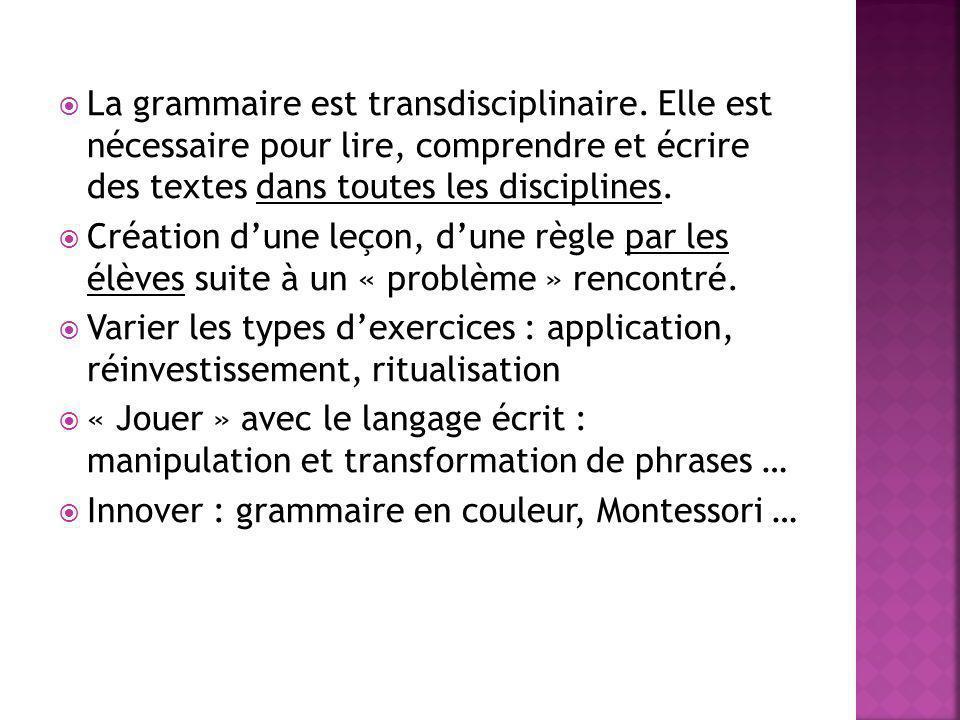 La grammaire est transdisciplinaire. Elle est nécessaire pour lire, comprendre et écrire des textes dans toutes les disciplines. Création dune leçon,