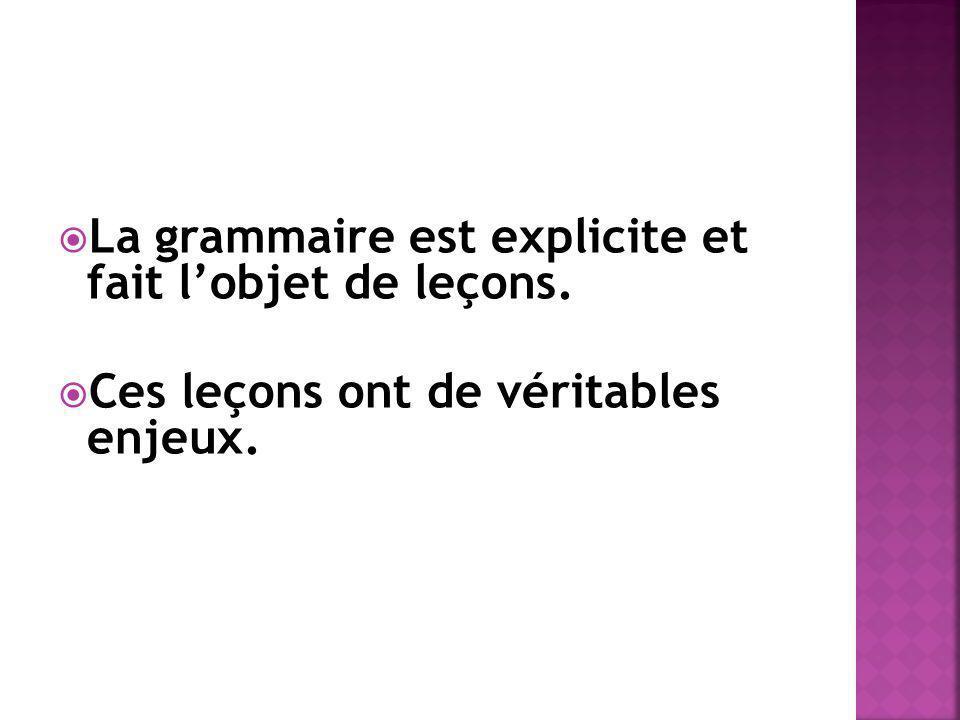 La grammaire est explicite et fait lobjet de leçons. Ces leçons ont de véritables enjeux.