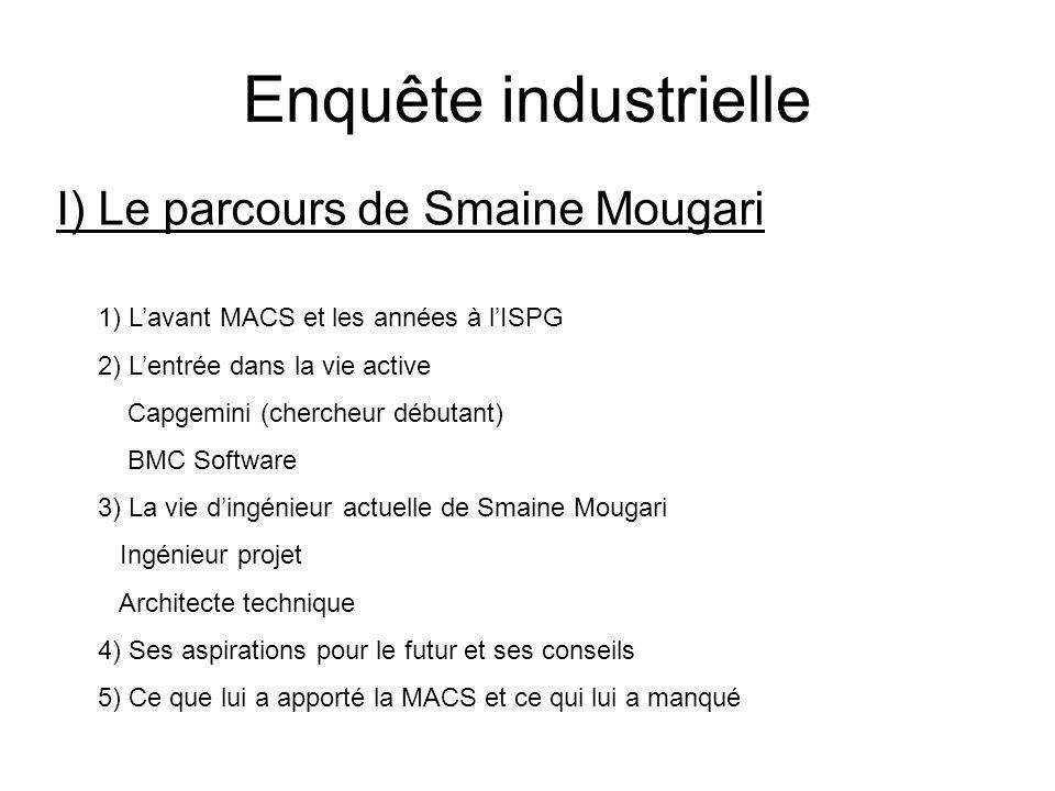 I) Le parcours de Smaine Mougari Enquête industrielle 1) Lavant MACS et les années à lISPG 2) Lentrée dans la vie active Capgemini (chercheur débutant